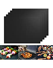 BBQ Grill Mat,Set of 5 Non-Stick, Teflon Cooking Mats - Easy to Clean, Reusable, Durable, Heat Resistantand, Barbecue Sheets for Grilling Meat, Reusable and Dishwasher Safe,Easy to Clean Barbque Grill Accessories/Grill Grease Tray
