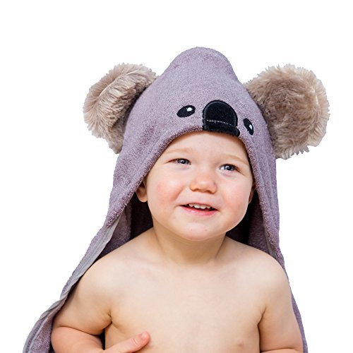Hooded Baby Towel and Washcloth Gift Set | Koala Design | Extra Soft Bamboo Bath Towel For Toddler Infant Newborn...
