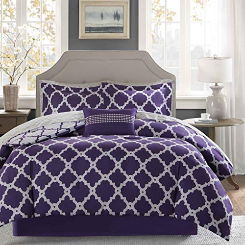 9 Piece Purple Quatrefoil Pattern Comforter with Sheets King Set, Elegant Grey Rich Geometric Print Bedding Modern Textured Design, Reversible Patterned, Casual Style, Vibrant Colors, Cotton ()