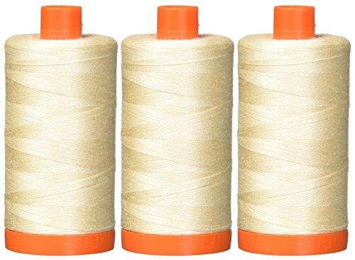 3-PACK - Aurifil Light Sand - A1050-2000 Mako Cotton Thread Solid 50WT 1422Yds each