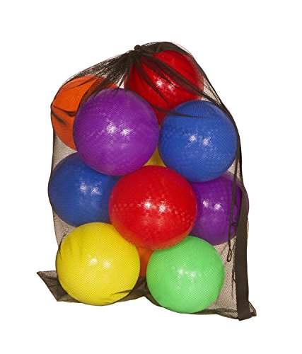 "Get Out! 8.5"" Inch Playground Balls 6-Pack Plus Mesh Drawstring Carrying Bag & Inflator – Latex-Free Rubber Playground Ball Set"
