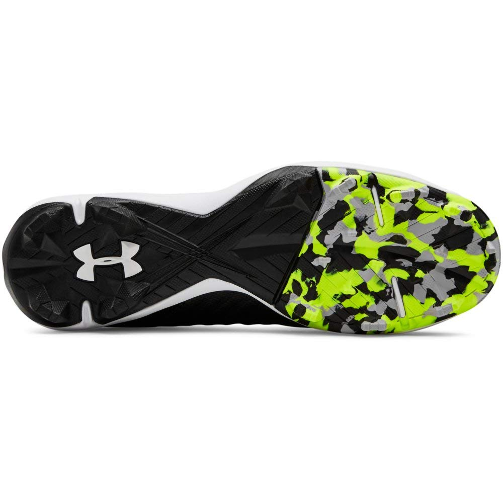 Under Armour Boys' Harper 3 Mid Jr. RM Baseball Shoe Black (001)/White 1.5 by Under Armour (Image #8)