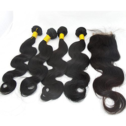 "Generic Women's 4Bundles+1Closure Human Hair Direct 100% Brazilian Remy Human Hair Extensions Body Wave 4Pcs16""*4 and 1piece Remy Hair Closure(4 * 4)14"""