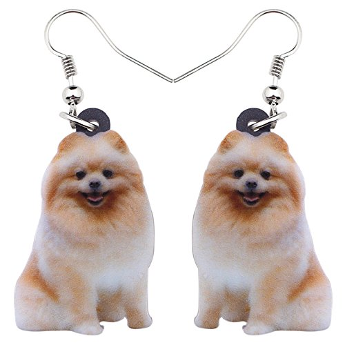 (NEWEI Acrylic Sweet Pomeranian Dog Earrings Dangle Drop Gift for Women Girl Charms Animal Jewelry)