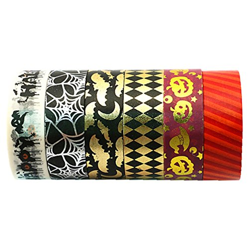 Halloween Decoration Decor Party Supplies - Wise Bird W50 Halloween Thin Washi Masking Tape Crafts Gifts For Halloween Party Decorations, School, Office, Kid, Women, 32ft long 1/2 in wide. Non-toxic ()
