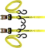 Motorbike Ratchet Tie Down Straps with Soft Loop. 2 Pack at 14ft, Super Strong 3300 BS. Latched Hooks to Lock Them in Place. Perfect at Holding Down ATV's, Motorcycles, Lawnmowers, Quad or Dirt Bikes