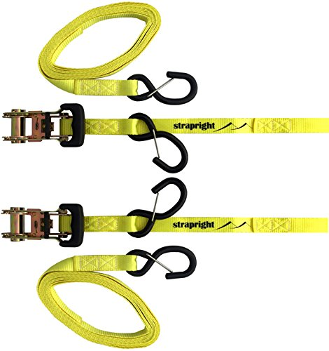 Motorcycle Ratchet Tie Down Straps with Coated S-Hooks-2 Pack 14ft, Strong 3300 Break Strength-Padded Ratchets that Adjust and Lock Into Place-For ATV's, Bikes,Cargo, Equipment in Trucks by ()