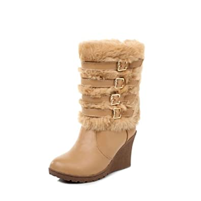 Fashion Faux-fur Womens Platform Wedge Heel High Top Snow Boots