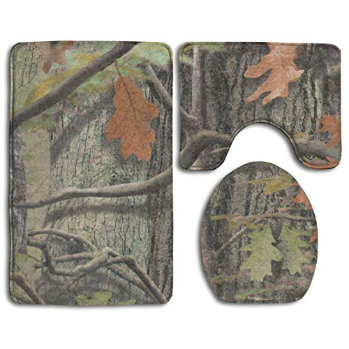 (Non Slip Absorbent Water Bathroom Rug Toilet Sets, Real Tree Camo Family Flannel Non-Slip Bathroom Rug Mats Set 3 Piece Washable Contour Rug and Lid Cover)