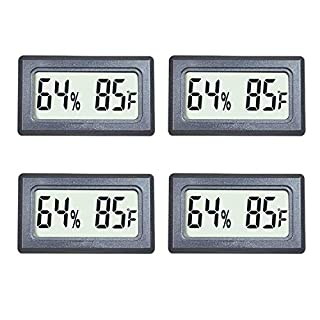 Veanic 4-Pack Mini Digital Thermometer Hygrometer Meters Gauge Indoor Large Number Display Temperature Fahrenheit (℉) Humidity for Home Office Humidors Jars Incubators Guitar Case
