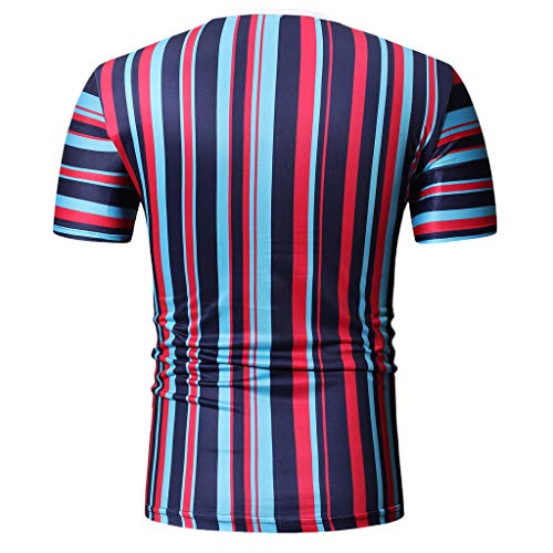 Mens Casual Stripe Patchwork Short SleevedSlim Fit T Shirts Top Blouse (M, Red) by chuxin huang (Image #3)