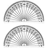 Leline's Plastic Protractor 180 Degree, 2pcs Student Math Protractors 4-inch Long, Clear
