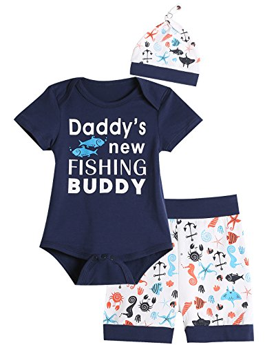 (3PCS Baby Boys' Daddy's New Fishing Buddy Outfit Set Short Sleeve Bodysuit (6-12 Months))