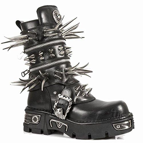New Rock Metallic Boots Unisex - Black - Euro 44 hZR1C7cgpL