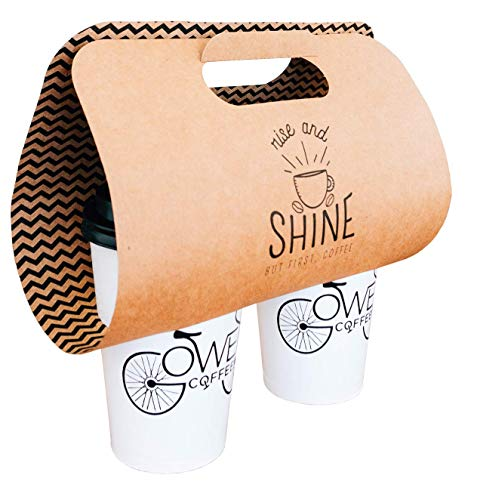 Paper Coffee to Go Carrier   Drink Takeout Holder  Kraft Beverage Server   Disposable Coffee Tray   Holds 2 Cups   100-Pack