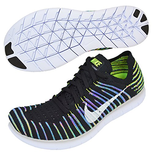 Nike Women's Free Running Motion Flyknit Shoes, Black/White-Volt-Blue Lagoon - 7 B(M) US
