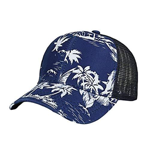 キャップ女性の男性調整可能なカラフルなフラワープリント野球帽メッシュキャップシェード夏,海軍,調節可能な