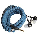 URIZONS Natural Stone Rock Lava Beads Beaded wearable Braided Wristband In Ear Earphones, Headsets with Microphone Remote for iPhone, iPad, Mac, Laptop Android Devices Fabric Bracelet Style (blue)