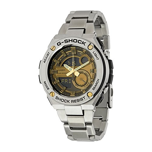 Men's Casio G-Shock G-Steel Black and Gold Dial Watch GST210D-9A (Mens Watches G Shock Silver)