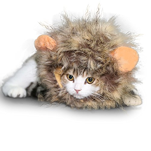 [Vivifying Lion Mane Costume, Adjustable Pet Lion Mane Wig with Ears for Cat and Small Dog (Light] (Make Lion Costume For Dogs)