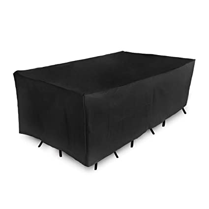 KINGSO Rectangular Table Watcher Patio Loveseat Sofa Cover All Weather Protective Patio with Secure Buckle Straps Garden Cover Black (83.86X 51.97 X29.13)