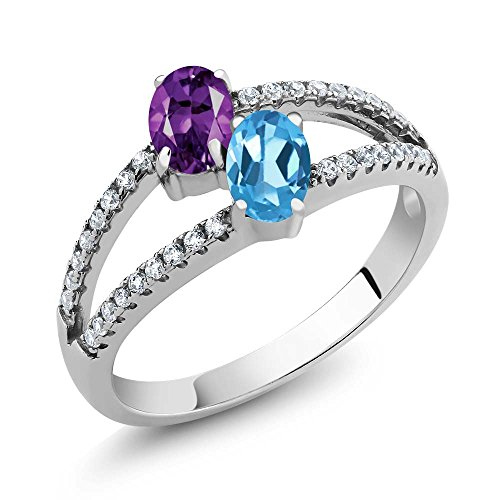1.26 Ct Oval Purple Amethyst Swiss Blue Topaz Two Stone 925 Sterling Silver Ring (Available in size 5, 6, 7, 8, (Blue Topaz Purple Ring)