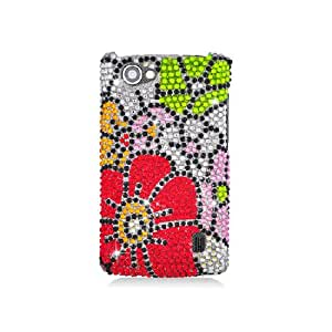 LG Optimus M+ MS695 Bling Gem Jeweled Jewel Crystal Diamond Red Green Silver Flower Cover Case