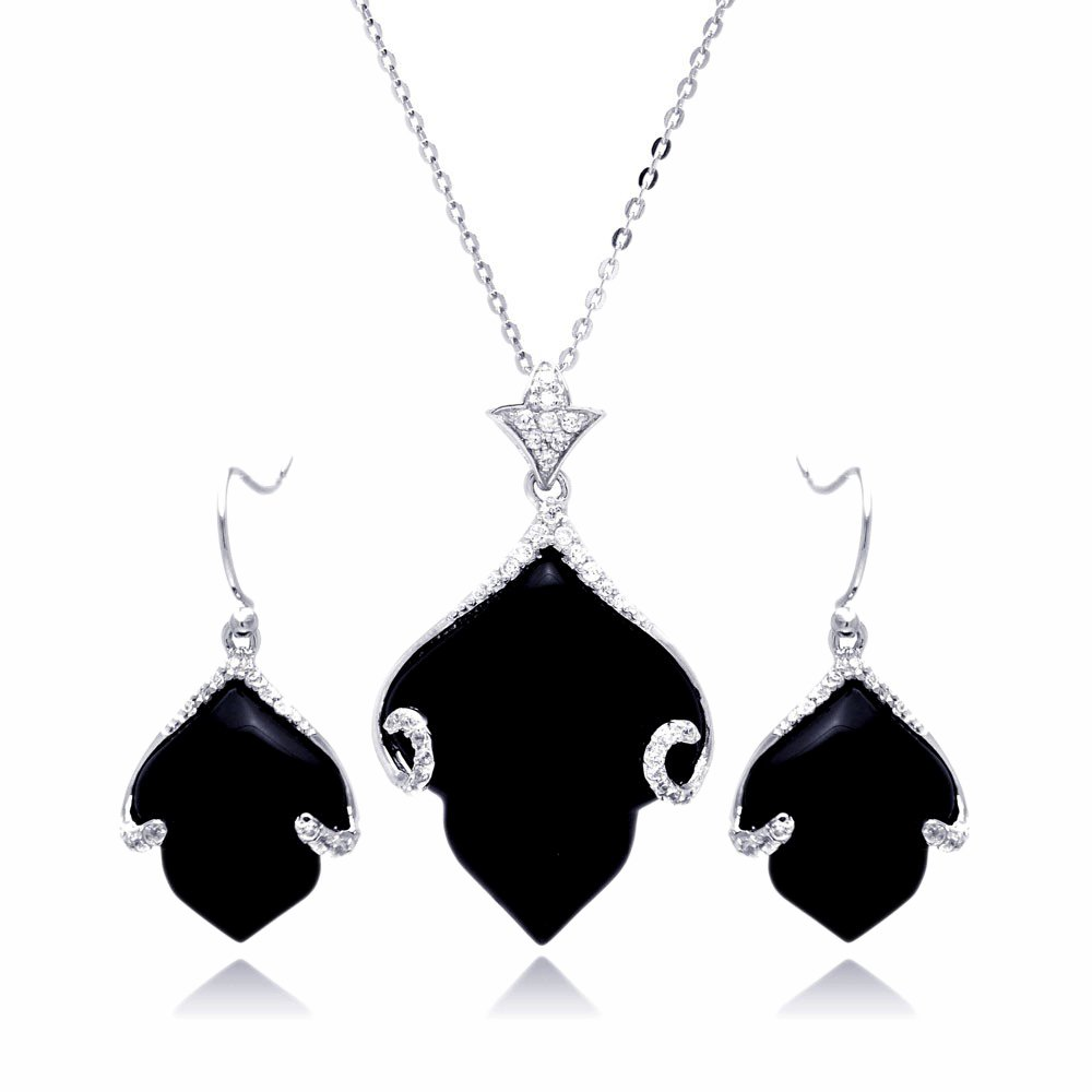 Sterling Silver CZ Black Simulated Onyx Leaf Hook Earring & Necklace Set 16'' + 2'' Ext.