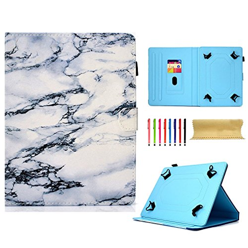 se for All 9.5-10.5 inch Touchscreen Android Tablet, Stand Folio PU Leather Wallet Shcokproof Cover with Card Pencil Holder for Kindle Samsung Apple ipad Tablet,ECT, Marble ()