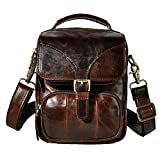Le'aokuu Men Real Leather Sling Messenger Bag Waist Belt Pack Hip Bum Bag Tote 2074 (coffee)
