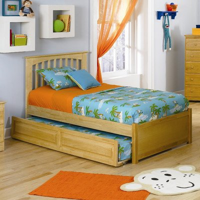 Brooklyn Platform Bed with Flat Panel Footboard and Trundle Size: Twin, Finish: Natural (Bedroom Maple Footboard)