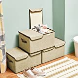 Large Storage Boxes [3-Pack] EZOWare Large Linen Fabric Foldable Storage Cubes Bin Box Containers with Lid and Handles - Beige For Home, Office, Nursery, Closet, Bedroom, Living Room