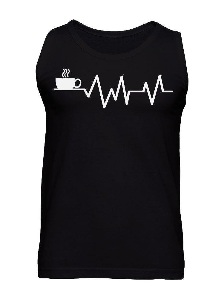 Coffee Helps Me Live Heartbeats Design Mens Tank Top