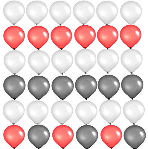 Elecrainbow 10 Inch Balloons, Round Matte Balloons for Party Decoration, Birthday, Wedding, Holiday, Balloon Arch Modeling, Matte White + Red + Black, Pack of - Red Silver Black