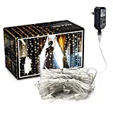 Curtain Lights, AGPTEK 9.8ft x 9.8ft Power Driver LED String Lights with 8 Modes for Christmas/Halloween/Wedding/Party Backdrops - FULL Waterproof & UL Safety Standard - White