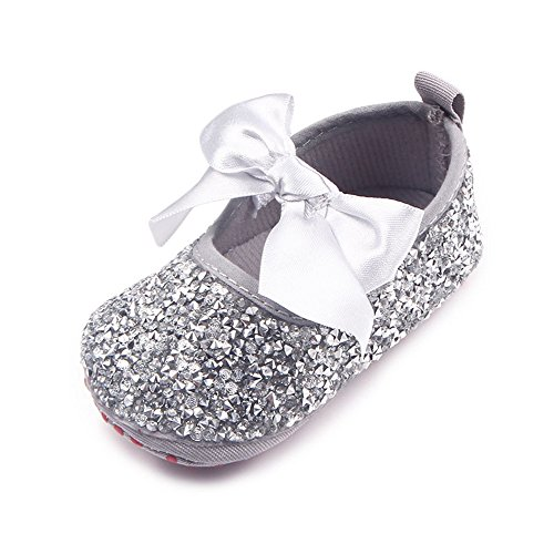 Flat Shoes Sparkly (Z-T FUTURE Infant Baby Girls Shoes Cute Bow Diamonds Sparkly Mary Jane Crib Dress Princess)