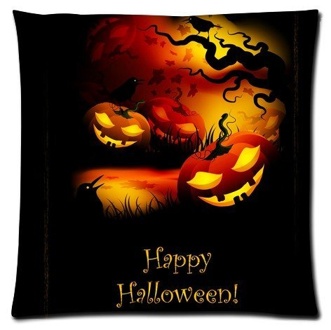 Happy Halloween Pumpkin Shining Smile Pillowcase zip 18x18 (Twin sides) Custom Zippered Pillow Cover Cases