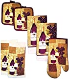 7-Piece Durable Designed Kitchen Set, 100% Cotton, 2 Kitchen Towels, 1 Oven Mitt, 2 Pot Holders, 2 Dishcloths (Wine N Grapes)