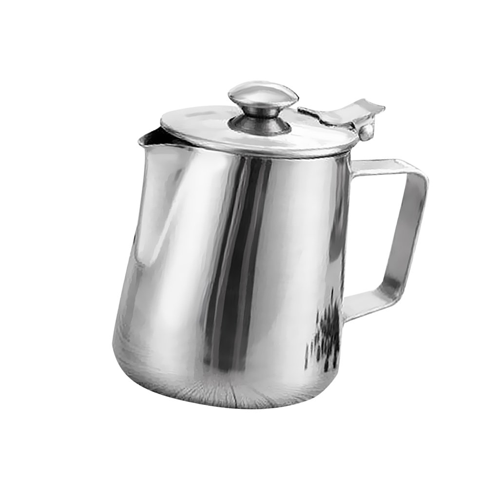 MonkeyJack Stainless Coffee Pitcher Craft Milk Frothing Jug with Lid 350ml-2L - Silver, 1L