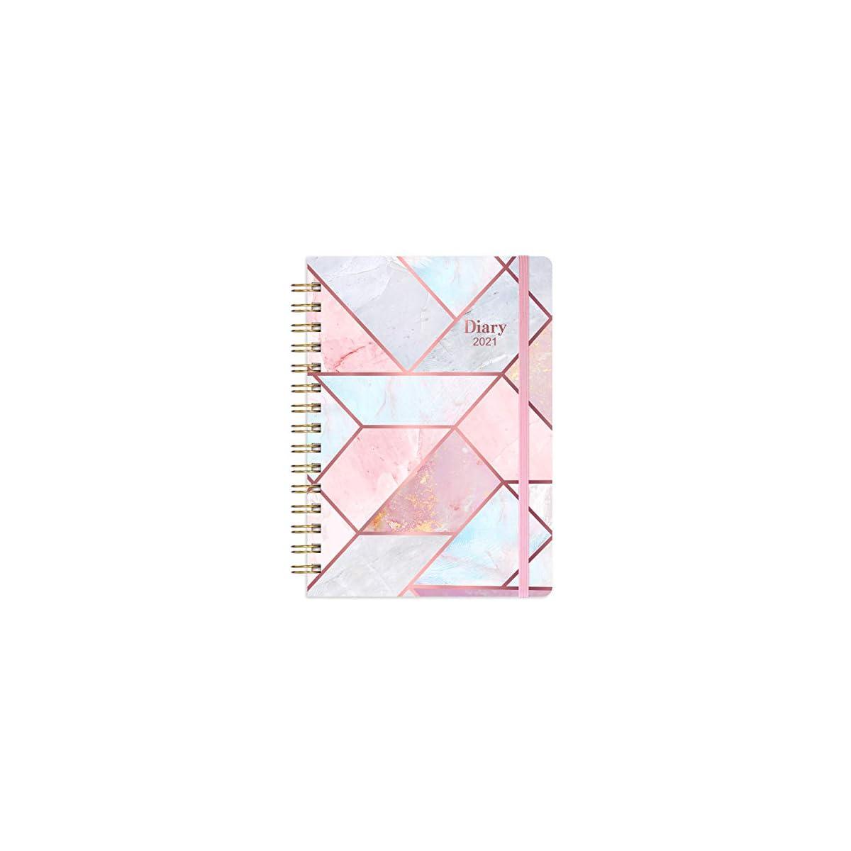 Agenda 2021 Eono A5 Agenda Settimanale con Due Adesivi Bianco Etichetta Mensile e Tasca Interna Espandibile 21,5 x 15,5 x 1,5 cm