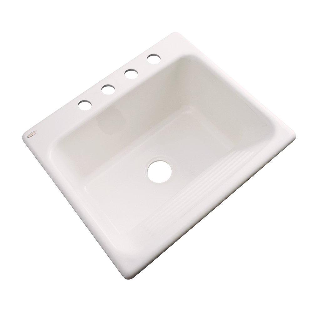 Thermocast 21403 Kensington Cast Acrylic Single Bowl Utility Sink with Four Holes 25-Inch Biscuit