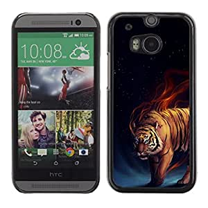 PC/Aluminum Funda Carcasa protectora para HTC One M8 Tiger Fire Fiery Blue Darkness Black Animal / JUSTGO PHONE PROTECTOR