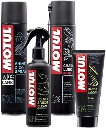 Kit Limpieza para Motos - Limpia Casco + Abrillanta Moto + Engrasa Cadena + Crema de Manos - Motul MC Care™ M1 M4 E10 C2: Amazon.es: Coche y moto