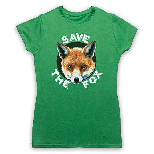 Save The Fox Protest Camiseta para Mujer Verde