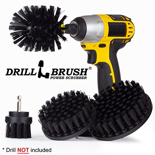 BBQ Grill Cleaning Ultra Stiff Drill Powered Cleaning Brushes 4 Piece Kit Replaces Wire Brushes for Rust Removal, Loose Paint, De-Scaling, Graffiti Removal on Stone, Brick, and Masonry. ()