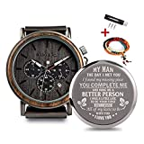 Personalized Wooden Watch Engraved Wood Engrave Groomsmen Gift My Man Wedding Anniversary for Men Gifts