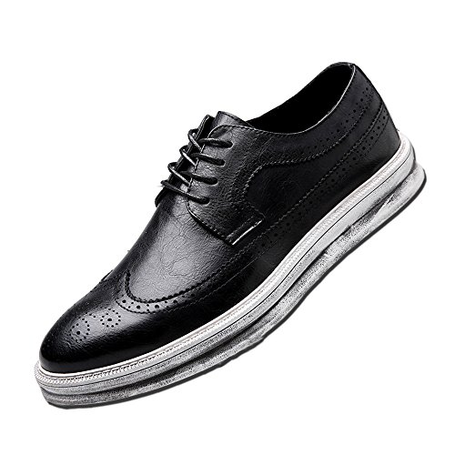 Wing Tip Oxford Lace (YANXU Mens Casual Fashion Leather Sneaker Wingtip Lace Oxford Dress Shoes(Black,Size 8))
