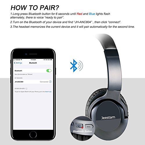 Jeestam Active Noise Cancelling Wired/Wireless Bluetooth Headphones with Microphone, Comfortable Protein Earpads Rotatable, Over Ear Headset Hi-Fi Stereo Deep Bass for Travel Work PC TV Phone (black) by Jeestam (Image #5)