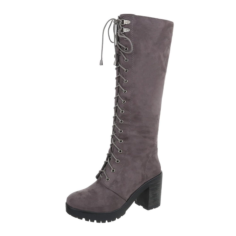 Ital-Design Schnürstiefeletten Damen-Schuhe Schnürstiefeletten Pump Schnürer Reißverschluss Stiefeletten Schwarz, Gr 37, Ns05-