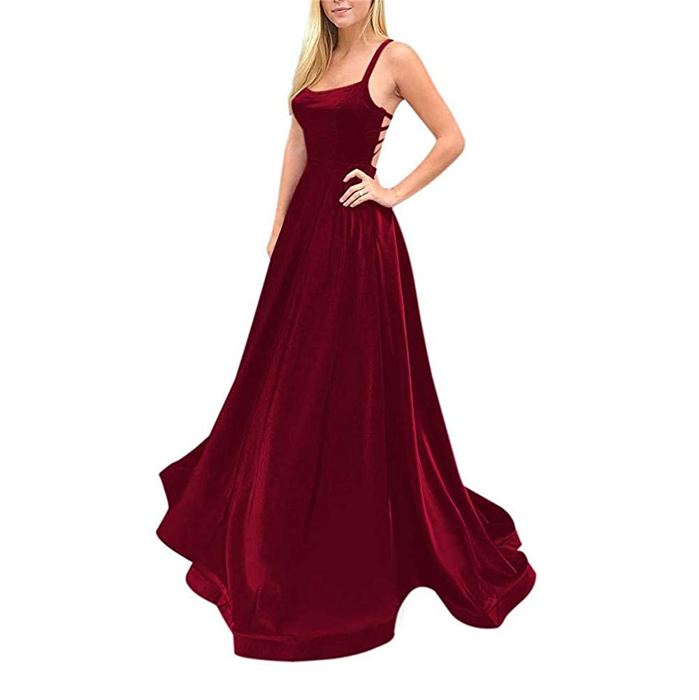 Burgundy Sulidi Womens Sexy Spaghetti Straps CrissCross Back Satin Prom Dresses with Pocket L017